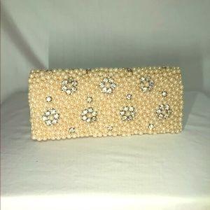 Handbags - Pearl Rhinestone Evening Clutch